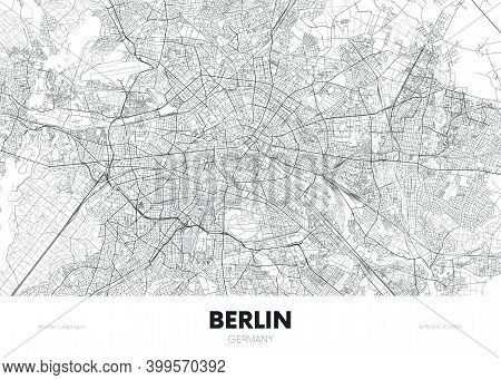 City Map Berlin Germany, Travel Poster Detailed Urban Street Plan, Vector Illustration