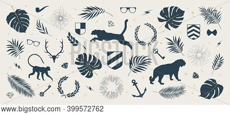 Collection Of Silhouettes Of Tropical Leaves And Plants, Jungle Animals, Sun Rays And Wreaths, Other