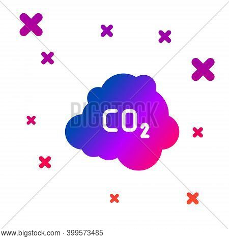 Color Co2 Emissions In Cloud Icon Isolated On White Background. Carbon Dioxide Formula, Smog Polluti