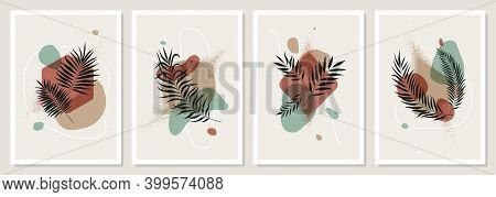 Minimalist Posters With Shapes And Tropical Leaves In Pastel Colors, Set Of Trendy Compositions Cont