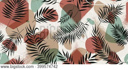 Seamless Pattern With Geometric Shapes And Exotic Tropical Leaves In Pastel Colors, Trendy Minimalis