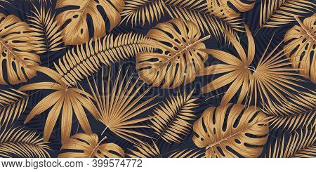 Seamless Pattern With Golden Leaves Monsters And Tropical Plants On A Dark Background, Exotic Botany