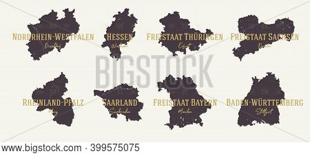 Set 2 Of 2 Highly Detailed Maps Vector Silhouettes States Of Germany With Names And Capital