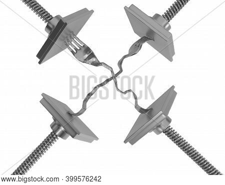 Forks Metal Press Squeeze, 3d Illustration, Horizontal, Isolated, Over White