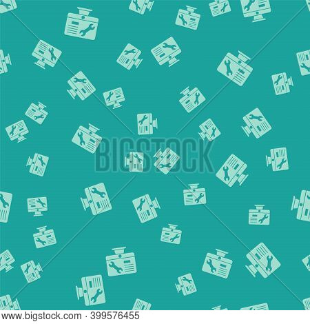 Green Computer Monitor With Wrench Icon Isolated Seamless Pattern On Green Background. Adjusting, Se