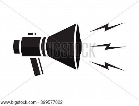 Speaker Symbol Or Bullhorn Illustration. Announcement By Megaphone
