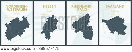 Vector Posters With Highly Detailed Silhouettes Maps States Of Germany - Nordrhein-westfalen, Hessen