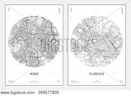 Travel Poster, Urban Street Plan City Map Rome And Florence, Vector Illustration