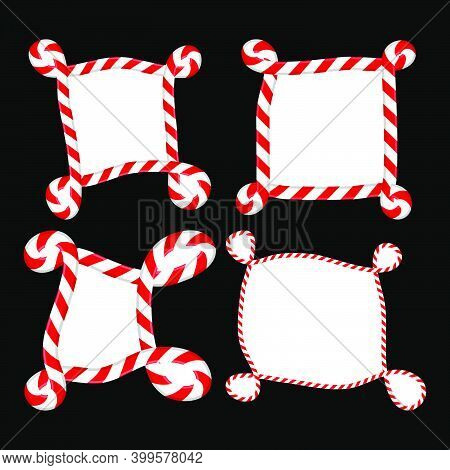 Striped Christmas Border Set. Candy Cane Curly Frame Collection. Seasonal Decoration Element. Holida