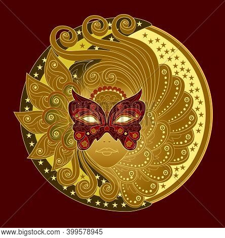 Medallion With Fantasy Fairy Head In Venetian Carnival Mask. Gold Coin With Woman's Portrait. Fashio