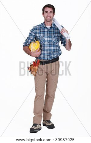Tradesman holding rolled-up drawings, tools and equipment poster