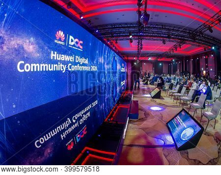 Moscow, Russia - Sept 30, 2020: Participants Await Start Of Huawei Digital Community Conference Held