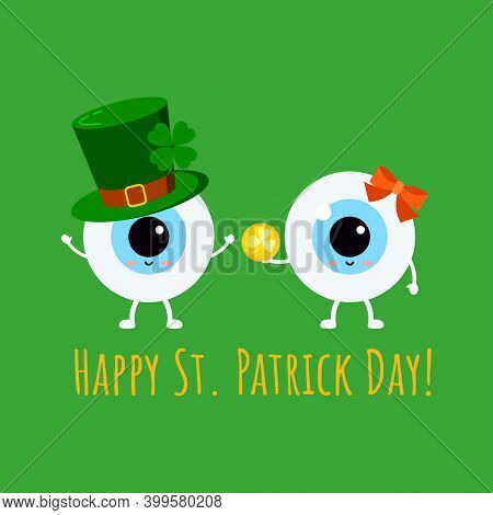 St Patrick Cute Eyes In Leprechaun Hat And In Glasses With Gold Coin. Ophthalmology Eyeball Irish Ch