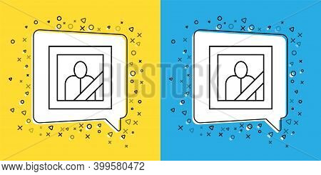 Set Line Mourning Photo Frame With Black Ribbon Icon Isolated On Yellow And Blue Background. Funeral