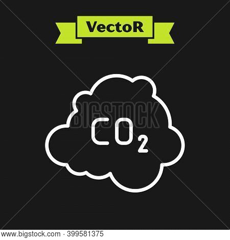 White Line Co2 Emissions In Cloud Icon Isolated On Black Background. Carbon Dioxide Formula, Smog Po