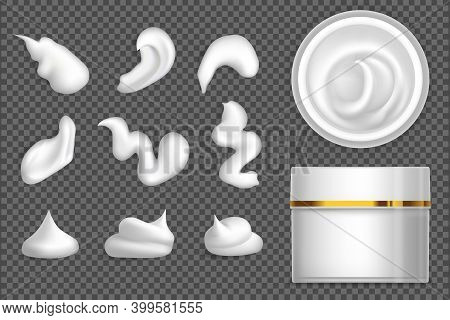 Set Of White Cream Or Lotion Drops With Jar Mockup. Vector Paint Stain Or Creme Illustration For Des