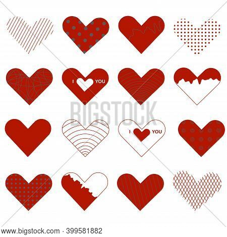 Heart Valentine Icon Set. 16 Elements For Valentines Day Greeting Card. Love Symbol.