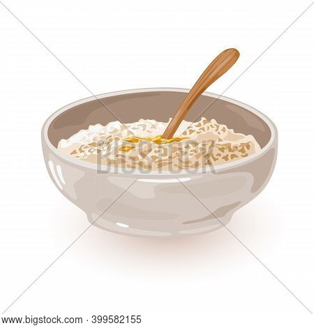 Plate With Healthy Porridge With Butter. Vector First Meal In Morning, Aromatic Boiled Granola, Cook