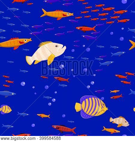 Marine Life Seamless Pattern. Tropical Fishes. Shoal Of Fish. Coral Reef. Ocean Bottom Nature Backgr