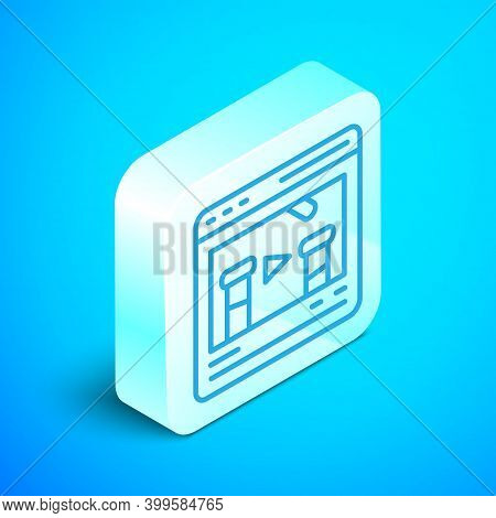 Isometric Line Chemical Experiment Online Icon Isolated On Blue Background. Scientific Experiment In