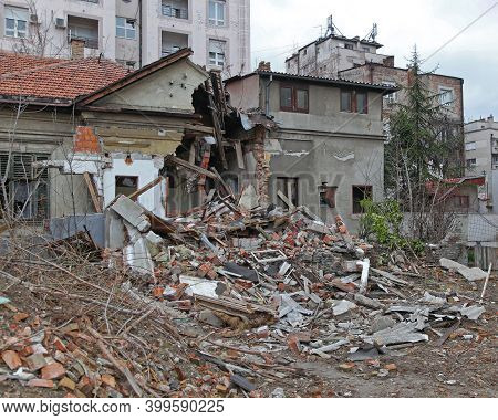 Ruined House Damage After Earthquake Natural Disaster