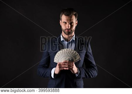 Photo Of Attractive Handsome Business Guy Hold Hands Fan Of Usa Bucks Rich Person Successful Million