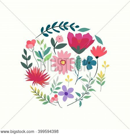 Spring Flower Frame. Flower Bloom, Garden Meadows Plants Background. Bridal Decoration, Spring Bloom