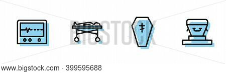 Set Line Coffin With Cross, Beat Dead Monitor, Dead Body The Morgue And Icon. Vector