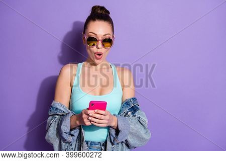 Close-up Portrait Of Her She Nice Attractive Lovable Cheerful Amazed Girl Using Device 5g App Pout L