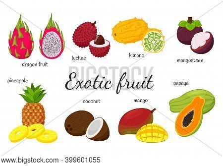A Set Of Tropical, Exotic Fruits. 8 Fruits, Whole And Split. Mango, Papaya, Dragon Fruit, Kiwano, Ly