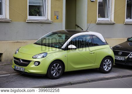 Dortmund, Germany - September 16, 2020: Opel Adam Compact Economy Car Parked In Germany. There Were