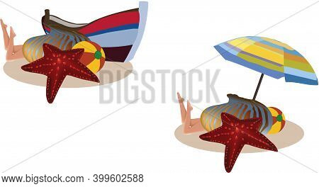 Umbrella Boat Woman In Costume Umbrella Boat Woman In Costume