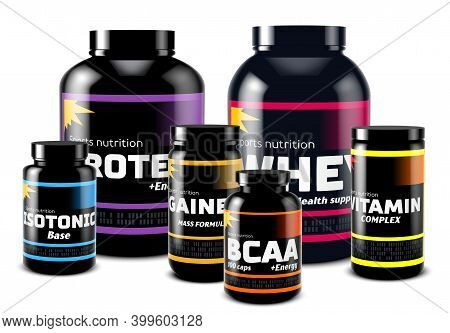 Set Of Sport Supplement Cans And Jars. Sport Food Containers For Fitness And Healthy Lifestyle. Prot