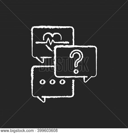 Free Question To Specialist Chalk White Icon On Black Background. Health And Medical-related Questio