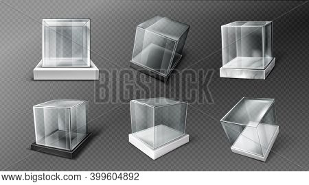 Glass Cube Boxes On Black, White And Marble Stand. Empty Clear Square Showcases On Plastic Podiums.