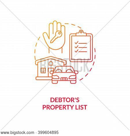 Debtor Property List Red Gradient Concept Icon. Mortgage For Real Estate. Creditor Contract. Financi