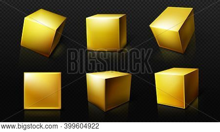 Gold Cube, 3d Square Golden Box In Front And Perspective Views. Vector Realistic Set Of Yellow Metal