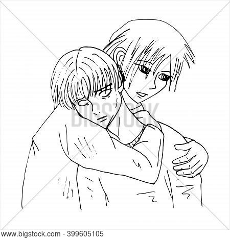 Ed And Lenny. Lgbt Couple. Anime Style. Minimalism. Vector Illustration Isolated On White Background