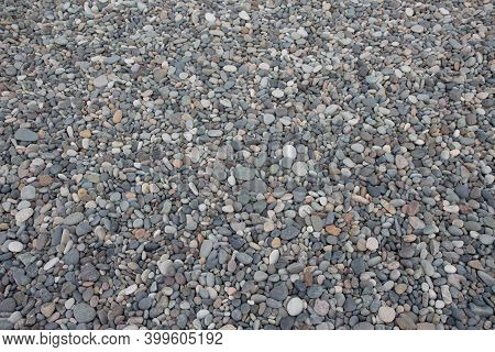 Nature Background, Pebbles From Gray Sea Pebbles. Gray Stones Texture. Pile Of Stones On Beach