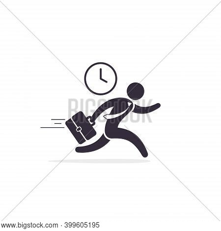 Running Businessman Haste Icon Vector. Time Management Concept. Illustration Businessman Hurrying.