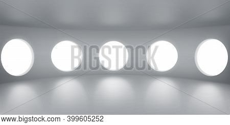 Empty Round Room With Portholes, Inner Architecture, Futuristic Office Interior Design With Large Wi