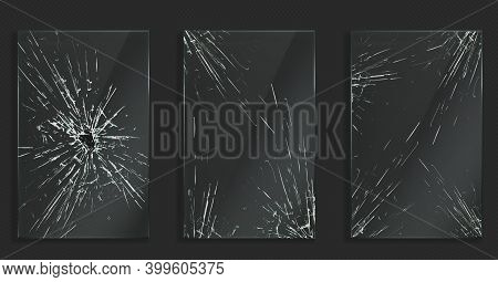 Broken Glass With Cracks And Hole From Impact Or Bullet. Vector Realistic Set Of Rectangle Clear Acr