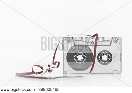 Trendy Reviving Retro Audio Cassette Tape Monochrome Isolated On White. Analogue Music Hipster Trend