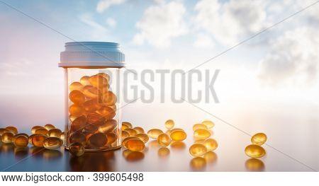Vitamin D pills in sun light. Medicine and pharmacy concept. 3D illustration