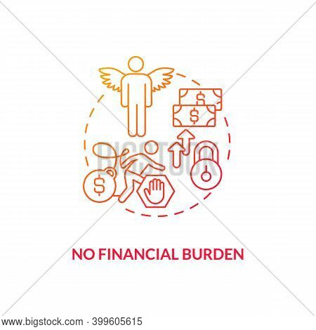 No Financial Burden Red Gradient Concept Icon. Debt Free. No Mortgage, Credit. Avoid Difficulty With