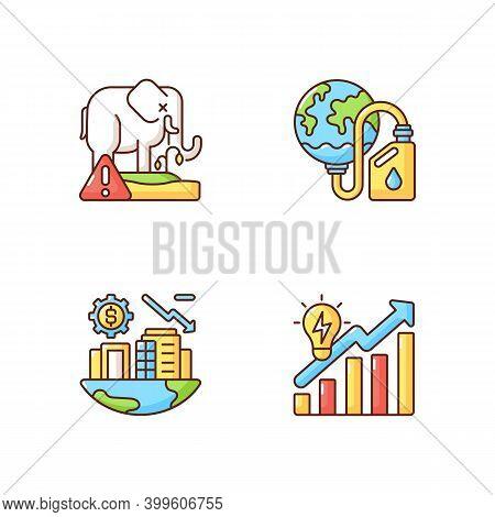 Global Warming Rgb Color Icons Set. Biological Resources Depletion. Biosphere Extinction Of Differen