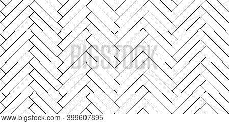 Black Line Vintage Herringbone Wooden Floor. Vector Monochrome Seamless Pattern. Parquet Design Text