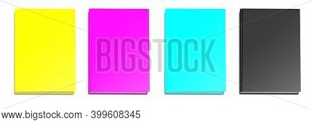 Blank Book Mockup Cmyk With Shadow Isolated On White. Illustration 3d Rendering.
