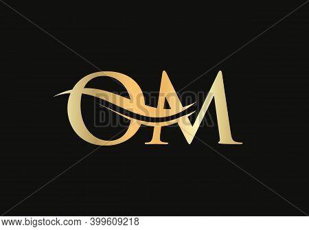 Letter Om Logo Design With Water Wave Concept. Om Letter Logo Design