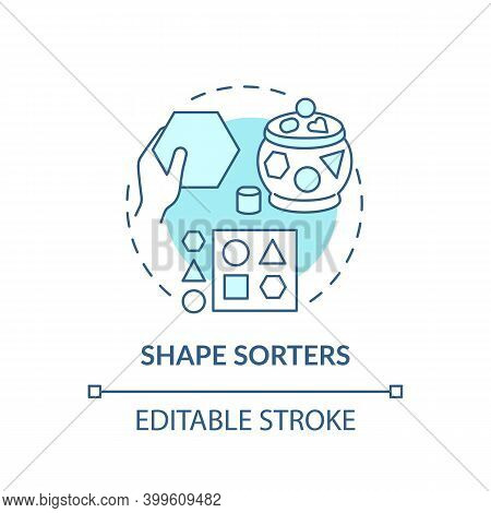 Shape Sorters Turquoise Concept Icon. Puzzle For Kid. Baby Toy. Intellectual Skills. Early Childhood